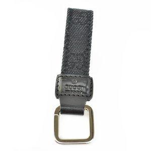 "GUCCI: Black, ""GG"" Logo & Leather Key Chain (mu)"